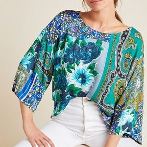 Anthropologie Ellery Mixed Print Blouse by Tiny